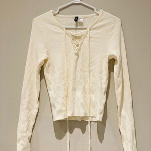 H&M CREAM KNIT LONG SLEEVE WITH CRISS CROSS